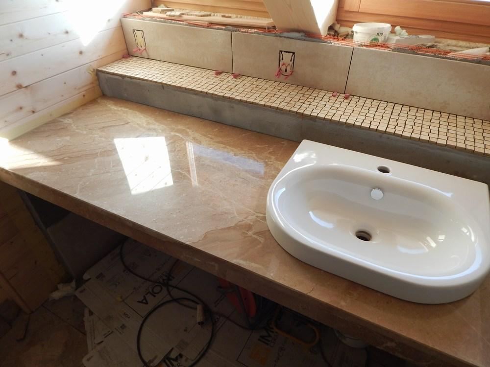 Arbeitsplatte badezimmer waschtisch wir verkleiden b der - Bad granitfliesen ...